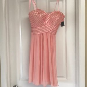 Light pink dress with jeweled and striped top